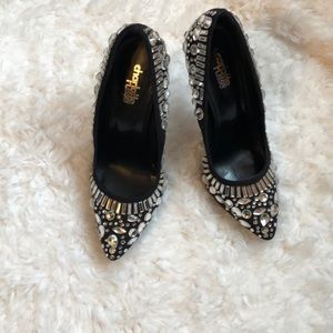Black & crystal heels